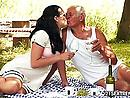 Kinky Teen Cutie Dolly Fucks Grandpa After Picnic