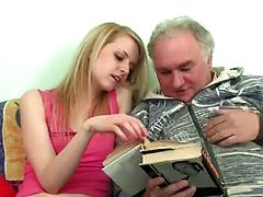 Young Blonde Has Her Tits Nibbled By A Grandpa