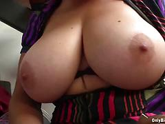 Handcuffed Slut Shows Off Big Tits And Gives Head