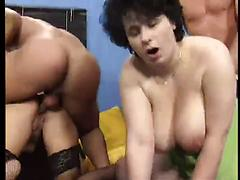 A Group Of Men Takes Turns Fucking Two Milfs