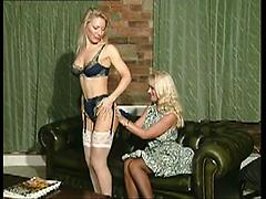 Sexy Blonde Lesbians Stockings And Heels