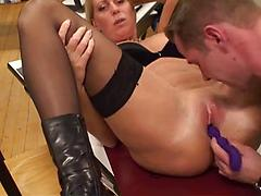 Thick Busty Blonde Teacher A Cock In Her Classroom