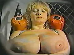 Blonde Woman With Huge Tits Works Out At The Gym