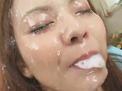 Adorable Teen Asian Gets Face Covered In Cum