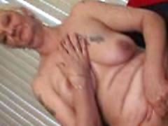 Horny Granny In Stockings Rubbing Her Cunt And Sucking Dick