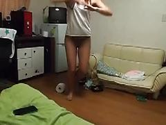 Sexy Legged Babe Dancing With Her Undies