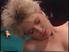 Hot Rocker Redhead And Blonde Chicks Have Sex On Pool Table