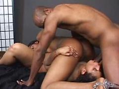 Hot Threesome With Two Geeky Black Babes