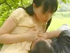 Asian Amateur Gets Fucked Outdoors While Working On Garden