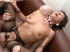 Short Haired Whore Takes Two Men In Her Hairy Box