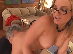 Blonde With Glasses Gets Her Pussy Eaten Out