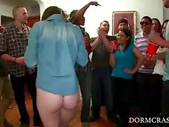 Hot Brunette Fucks Hard At A Fraternity Party