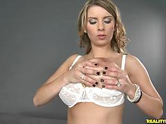 Chick Strips Out Of Her White Bra And Panties