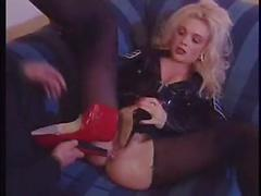 Classic foot fetish busty blonde ass fuck!