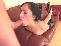 A brutal throat fuck for sasha rose!