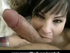 Smoking hot amateur gets a face full of rocco s jizz