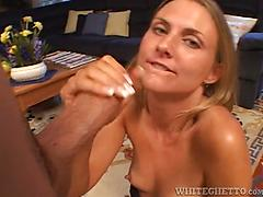 Platinum-blonde milf with killer face fellates and plumbs a rock-hard trouser snake