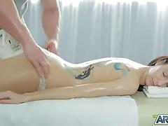 Inked woman on fat hard-on in hd movie