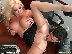 Alluring blonde stunner Nikita Von James banged in the office table
