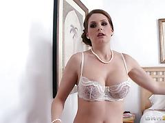 Mouthwatering Allison Moore gives a double blowjob and enjoys DP fucking