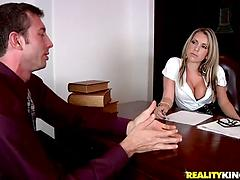 Office bitch Courtney Cummz takes a perfect ride on a big dick