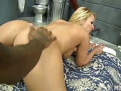 Blonde busty cougar Mellanie Monroe screwed roughly by a black dude