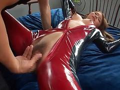 Asian pornstar in a latex costume gets banged and facialized