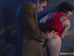 MILF in a red dress gets mouth and cunt fucked in a public place
