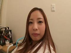 Mischievous Asian babe in fashionable lingerie deals with stranger's dick