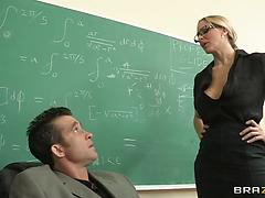 Blonde teacher goes dirty in a classroom fucking like a real hoe