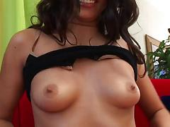 Brunette stunner wiht awesome round butt rides cock as a cowgirl