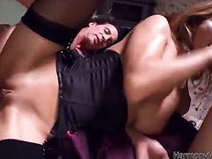 Sugary milf Alice Romaine gets her twat treated hard by two guys