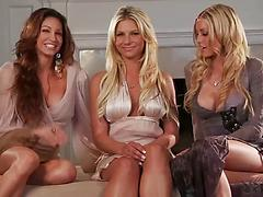 Very sexy blonde chick Angelina Polska shows tits in the erotic show