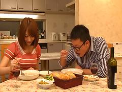 Hairy Asian cunt gets banged and creampied after dinner