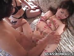 Bound Japanese sluts get hot wax on bodies and enjoy BDSM sex