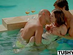 Anya Olsen Threesome Sex By The Pool