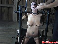 Caned submissive deepthroats maledom
