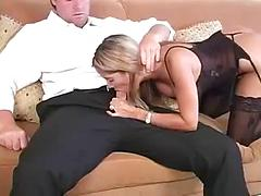 Lingerie Blonde Milf. Does She Make Him Cum?