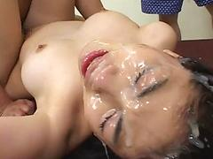 Sperm shots to her eyes and nose!!